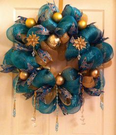 Christmas, teal and gold chandelier!