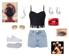 """"""""""" by ericalavallee ❤ liked on Polyvore featuring beauty, Lipsy, Topshop, adidas, Ray-Ban and Allurez"""