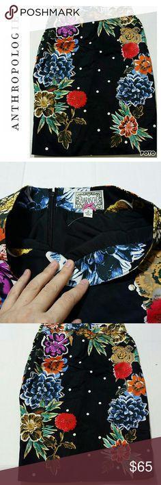 "NWOT Anthropologie floral pencil skirt. Cute Size 2 Yoana Baraschi Anthropogie pencil skirt. Black career classy skirt. Waist 28"" length 25. Anthropologie Skirts"