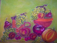 Bildtitel: Kanne und Schüssel mit Obst Technik: Pastellkreide Größe :   30 x 40 cm