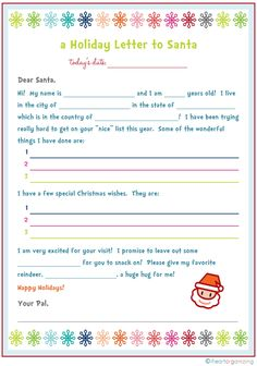 Free printable letter to Santa.  DIY Christmas holiday activity for kids.   IHeart Organizing