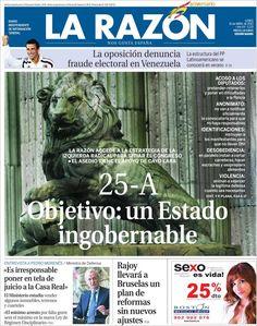 Los Titulares y Portadas de Noticias Destacadas Españolas del 15 de Abril de 2013 del Diario La Razón ¿Que le parecio esta Portada de este Diario Español?