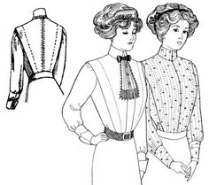 Past Patterns: #400: Edwardian Tailored Shirt Waists. Note that you'd have to re-locate closure from back to front and add a yoke.