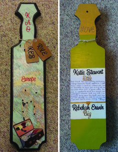 Kappa Alpha Theta paddle I made for my first Little. She studied abroad in Europe so I pinned all the places she has been on the map that was modpodged to the front. Everything else was done with stickers. The luggage tags tied around the neck of the paddle: one has her initials with Little on the back and the other has my initials with Big on the back. And we both love wine, so I painted the back to look like a wine bottle and wrote a note to her in the label.