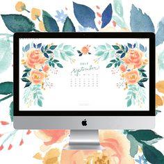 Pretty peach blooms watercolor September 2017 calendar wallpaper for your computer. 100% original art by artist Michelle Mospens. | Mospens Studio