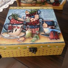 Cay kutusu Napkin Decoupage, Decoupage Box, Home Crafts, Diy And Crafts, Paper Crafts, Painted Boxes, Wooden Boxes, Tole Painting, Painting On Wood