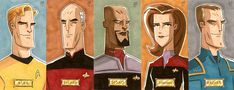 Star Trek Captains, from left to right: Kirk, Picard, Sisko, Janeway and Archer. These big fat personal sketch card commissions measure 2 x 4 in. This Is Fine Meme, Star Trek Captains, Star Trek Characters, The Final Frontier, The Good Dinosaur, Uss Enterprise, Art Images, Science Fiction, Pop Culture
