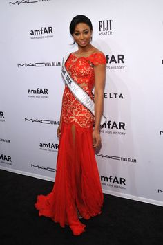 Nana Meriwether in an embellished MacDuggal gown on the red carpet at the amfAR New York Gala.