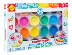 ALEX Toys Artist Studio 24 Finger Paints. Washable water based paints. A great way to introduce your little one to art. Each paint comes in individual 1 ounce cups for easy use. Includes 24 colors of washable finger paints. Recommended for children 3 years of age and older.