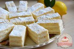 Régimódi citromszelet Hungarian Cake, Hungarian Recipes, Cake Cookies, Feta, Camembert Cheese, Sweet Treats, Deserts, Lemon, Cooking Recipes