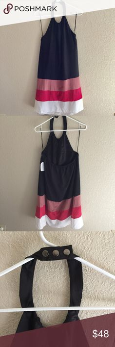 """NWT Jessica Simpson Halter Tent Dress - New with tag - Color: Black, White, Pinks - Size : 10 - Material: Outer shell 100% polyester, Lining 96% polyester and 4% spandex - Measurements: Approx 37"""" long - Features: 3 snaps on the back of neck, fully lined, elastic along back - MSRP : $128 Jessica Simpson Dresses"""