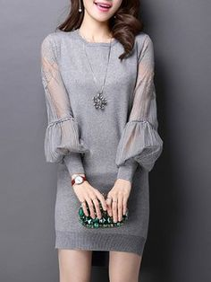 Knitted Paneled H-line Plain Casual Lace Dress