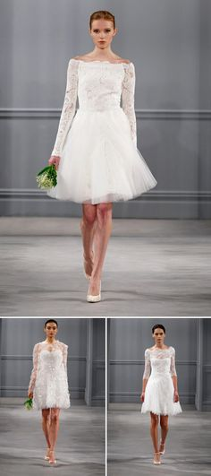 Short Monique Lhuillier wedding dresses from the spring 2014 bridal collection | via junebugweddings.com