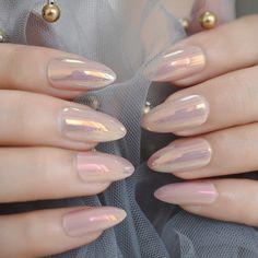 Acrylic Nail Tips, Almond Acrylic Nails, Almond Shape Nails, Cute Acrylic Nails, Almond Nails Pink, Peach Acrylic Nails, Cute Nails, My Nails, Almond Nails Designs