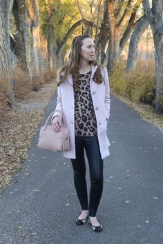winter outfit with leopard, leather leggings, and blush : DressesAndDenim.com