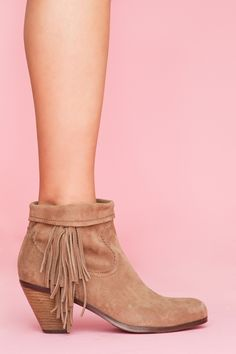 Louie Fringe Booties - Tan