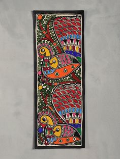 Buy Multicolor Peacock Madhubani Painting (15in x 6in) Handmade Paper Natural Paint Art Vintage Finds Online at Jaypore.com