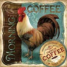 Morning Coffee Poster Print by Conrad Knutsen x Rooster Art, Rooster Decor, Rooster Statue, Chicken Painting, Chicken Art, Chicken Items, French Country Bedrooms, French Country Style, Coffee Poster