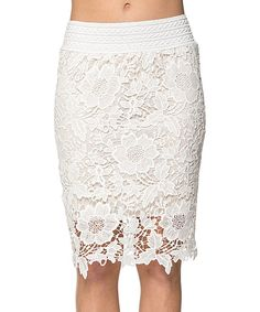 Another great find on #zulily! Khloe Collection White Floral Lace Pencil Skirt by Khloe Collection #zulilyfinds