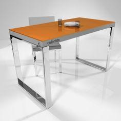 #mesas de #cocina en cristal, en este caso, el modelo Coloritta, de Cancio con cristal en color naranja y patas cromadas