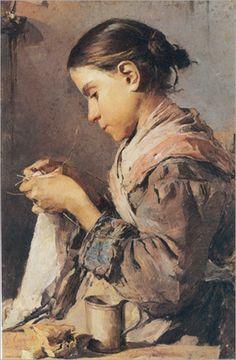 Ritratto di Donna che ricama - Gaetano Esposito (Italian, 1858-1911)