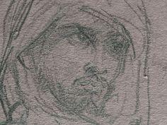 CHASSERIAU Théodore,1846 - Arabe debout, retenant un pli de son Burnous - drawing - Détail 15