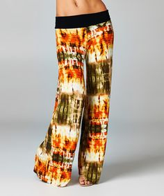 Look what I found on #zulily! Olive & Rust Tie-Dye Palazzo Pants #zulilyfinds