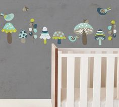 Navy Toad Stools and Birds  - WALL DECAL - Wall sticker - removable wall art