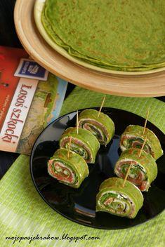 moje pasje: Naleśniki szpinakowe z łososiem i kremowym twarożkiem (roladki lub rollsy) Fish Crafts, Guacamole, Food And Drink, Appetizers, Cooking Recipes, Mexican, Snacks, Lunch, Ethnic Recipes