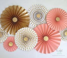 Coral and Gold Glitter Gold Rosette by BeautifulPaperCrafts