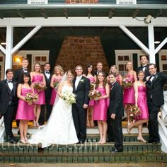 Devon had always known her bridesmaids would wear pink. She let the ladies choose their favorite style, and the men wore classic black tuxedos with bow ties and vests.