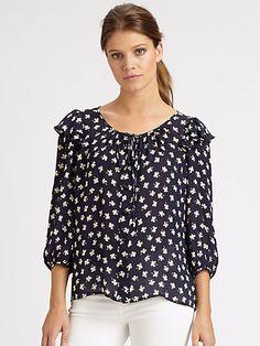 Milly - Yves Clover-Print Silk Blouse - Saks.com