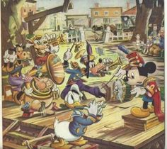 Vintage Disney Art Print - Mickey Mouse Band Concert It's not always about the antique art prints.  Perfect case in point are the color prints we have from Disney.  Printed in the 1940's, the image has that classic Disney feel to things.  Mickey conducting (he seems to be fond of that role), Donald in the foreground playing ... a fife?  Goofy is going all out as the one-man-band.  He's got a trumpet, a pipe or whistle, cymbals, and a drum.  Goofy always was an overachiever.  :^)