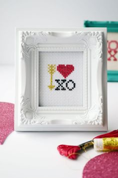 Download this free Valentine's Day Cross Stitch pattern for a sweet sugar free treat!