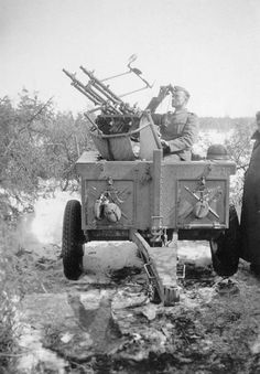 German Soldier with MG34 Anti-aircraft gun in WW2