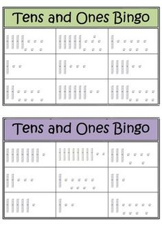 tens and ones bingo