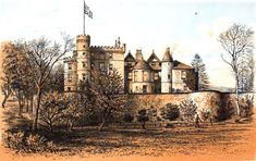 Ardencaple Castle (circa 1879),  The castle was then occupied by H. E. Crum-Ewing of Strathleven, Lord Lieutenant of Dumbartonshire. Castle is now gone.