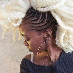 Cornrows + Platinum Blonde Crochet Hair