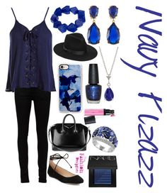 """Navy Pizazz"" by the-fashiondesigner on Polyvore featuring Yves Saint Laurent, Sans Souci, Karl Lagerfeld, Givenchy, Casetify, Lack of Color, John Lewis, Kenneth Jay Lane, Effy Jewelry and NARS Cosmetics"
