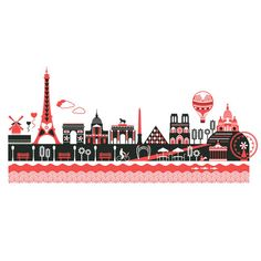 This is a limited hand-pulled screen print of Kate McLellands   illustration of the Paris Skyline