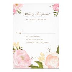 Watercolor Wedding Invitation Romantic Watercolor Flowers Wedding RSVP Card