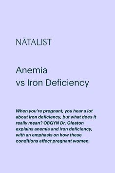 When you're pregnant, you hear a lot about iron deficiency, but what does it really mean? OBGYN Dr. Gleaton explains anemia and iron deficiency, with an emphasis on how these conditions affect pregnant women. #wellness #prenatal #nutrition #womenshealth #ttc #pregnancy #pregnant #vitamins #fertility #nutrition #anemic #iron #nutrients #baby #babyshower #love #education #OBGYN #fertilityfoods #pregnant #pregnancytest #ovulationtest #diy #health #wellness #inspo #pregnancystyle #fitpregnancy
