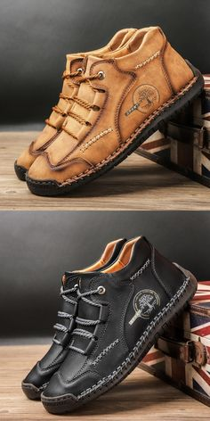 US 28.4 <Click to buy> Preelsty Big Size 39-48 Italian Design Fashion Men Boots Shoes High Tops Cap Toe Handsome Genuine Cow Leather Mens Shoes Boots, Shoe Boots, Boat Shoes, Men's Shoes, Italian Shoes For Men, Business Shoes, Fashion Men, Fashion Design, Martin Boots