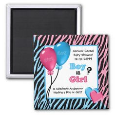 Trendy Zebra Print Gender Reveal Baby Shower 2 Inch Square Magnet Baby Shower Invitation Wording,