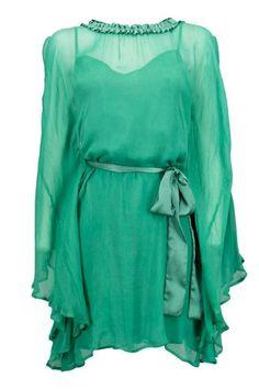 green large dress in georgette