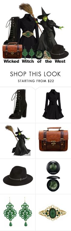 """Wicked Witch of the West - The Wizard of Oz"" by invadergarb ❤ liked on Polyvore featuring Kendall + Kylie, Sole Society, MAC Cosmetics, Tità Bijoux, 1928 and Vintage"