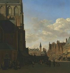 The Fish Market and the Grote Kerk at Haarlem - Gerrit Adriaensz Berkheyde(1675 - 1680) ; painting , oil on panel . North Carolina Museum of Art