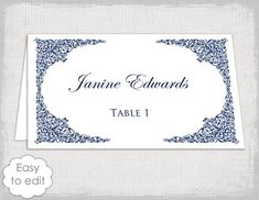place card template navy lace wedding place card templates victorian printable name cards navy blue you edit avery 5302 tent download
