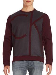 CALVIN KLEIN Logo Print Cotton-Blend Sweatshirt. #calvinklein #cloth #sweatshirt