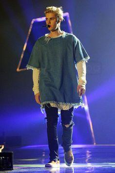 Justin Bieber wearing  Fear of God Selvedge Denim Vintage Black Jean, Marques Almeida Denim Oversized T-Shirt, Vans Pig Suede Slip-On